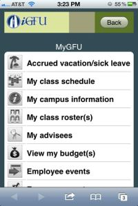 iGFU Faculty MyGFU Screen
