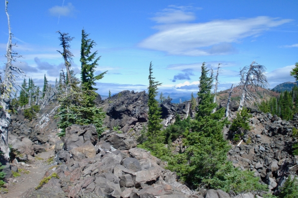 Trail back to Lava Lake Trailhead through Lava Field