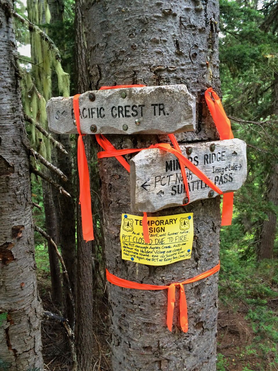 PCT Closure Sign from 2015